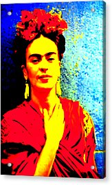 Acrylic Print featuring the mixed media Funky Frida IIi by Michelle Dallocchio