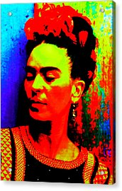 Acrylic Print featuring the mixed media Funky Frida by Michelle Dallocchio