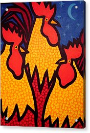 Funky Roosters Acrylic Print by John  Nolan