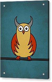 Funny Cartoon Horned Owl  Acrylic Print by Boriana Giormova