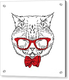 Funny Cat In A Tie And Glasses. Vector Acrylic Print