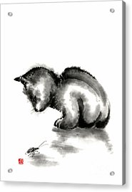 Funny Cute Little Black Cat And Beetle Japanese Sumi-e Original Ink Painting Art Print Acrylic Print by Mariusz Szmerdt