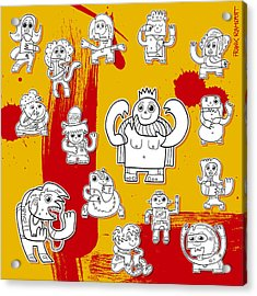 Funny Doodle Characters Urban Art Acrylic Print by Frank Ramspott