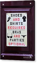 Funny Sign In Ios Island Acrylic Print by George Atsametakis