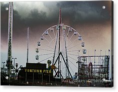 Funtown Pier Acrylic Print by Kathy Flugrath Hicks