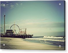 Funtown Pier Seaside Heights New Jersey Vintage Acrylic Print by Terry DeLuco