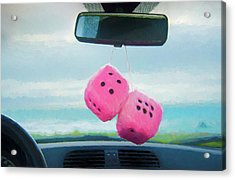 Furry Dice Hanging In A Car Acrylic Print