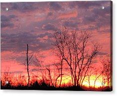 Fuschia And Purple Sunset Acrylic Print by Deborah Smolinske