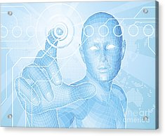 Future Man Touch Screen Concept Acrylic Print by Christos Georghiou
