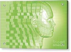 Futuristic Avatar  Polygon Mesh Background Acrylic Print by Christos Georghiou