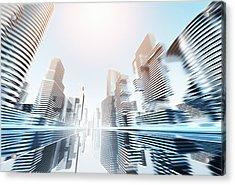 Futuristic Cityscape Acrylic Print by Jorg Greuel