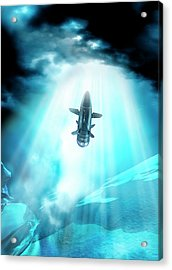 Futuristic Space Craft Acrylic Print by Victor Habbick Visions