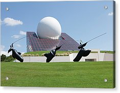 Futuroscope Pavillon And Statues Acrylic Print by Pascal Goetgheluck/science Photo Library