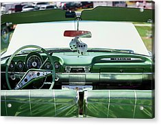 Fuzzy Dice Hanging In A Car At Antique Acrylic Print