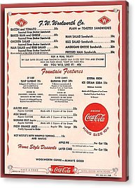 Fw Woolworth Lunch Counter Menu Acrylic Print by Thomas Woolworth