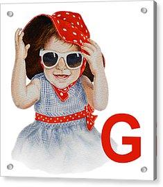G Art Alphabet For Kids Room Acrylic Print by Irina Sztukowski