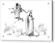G-d Slam Dunks On An Angel's Halo Acrylic Print