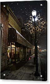 G Street Antique Store In The Snow Acrylic Print by Mick Anderson
