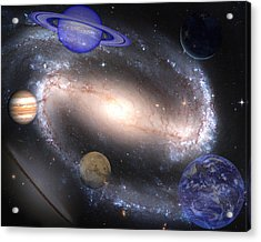 Galaxies And Planets Acrylic Print by J D Owen