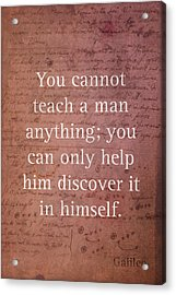 Galileo Quote Science Astronomy Math Physics Inspirational Words On Canvas Acrylic Print