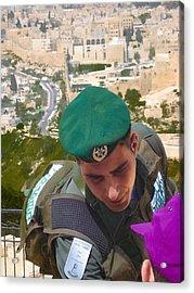 Gallant And Kind Israeli Soldier Acrylic Print by Sandra Pena de Ortiz