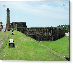Galle Fort Clock Tower And Rampart Acrylic Print by Panoramic Images