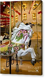 Acrylic Print featuring the photograph Galloping White Beauty - Vintage Carousel Horse by Maria Janicki