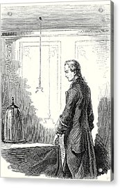 Galvani Causes Contractions In A Frog With Electricity Acrylic Print by English School