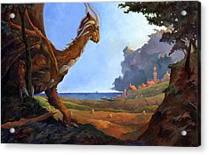 Galversharn The Dragon Looking For Her Eggs Acrylic Print by Storn Cook