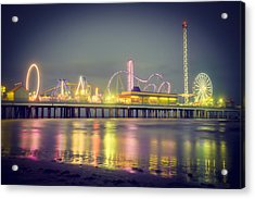 Galveston Pier Colors Acrylic Print by Ray Devlin