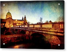 Galway Cathedral And The Salmon Weir Bridge Acrylic Print by Mark Tisdale