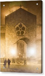 Galway Cathedral In A Winter Fog Acrylic Print by Mark E Tisdale