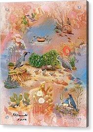 Gambel Quail Collage-southwest Art Acrylic Print