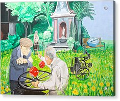 Acrylic Print featuring the painting Gambling Grandma  by Lazaro Hurtado