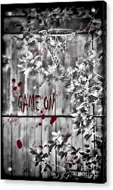 Game On Basketball Black And White Acrylic Print by Cathy  Beharriell