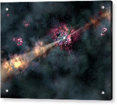 Gamma-ray Burst Acrylic Print by Gemini Observatory/aura, Artwork By Lynette Cook