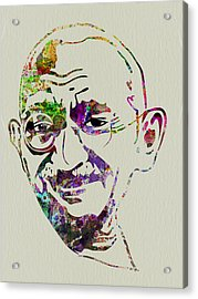 Gandhi Watercolor Acrylic Print by Naxart Studio