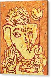Ganesha Gold And Maroon Acrylic Print