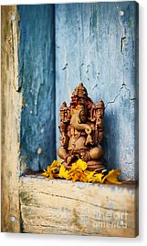 Ganesha Statue And Flower Petals Acrylic Print by Tim Gainey