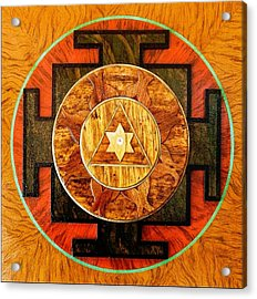 Ganesha Sacred 3d High Relief Artistically Crafted Wooden Yantra    23in X 23in Acrylic Print by Peter Clemens