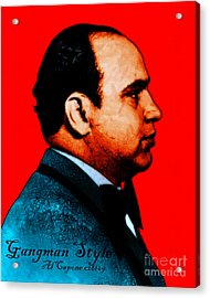 Gangman Style - Al Capone C28169 - Red - Painterly Acrylic Print by Wingsdomain Art and Photography