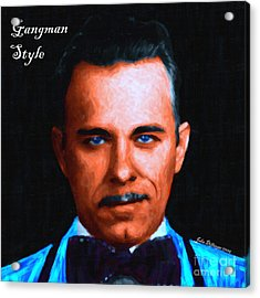 Gangman Style - John Dillinger 13225 - Black - Painterly - With Text Acrylic Print