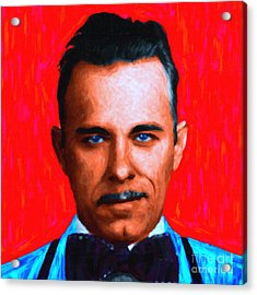 Gangman Style - John Dillinger 13225 - Red - Painterly Acrylic Print by Wingsdomain Art and Photography