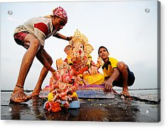 Ganpati Prccession Acrylic Print by Money Sharma