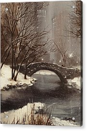 Gapstow Bridge Nyc Acrylic Print by Tom Shropshire