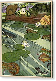 Garada Clark Riley Living Pond With Frog Turtle Lily Pads Fish Crawfish Mouse Snail Lizard Etc Acrylic Print by Pierpont Bay Archives