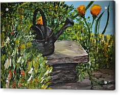 Acrylic Print featuring the painting Garden Bench by Debbie Baker