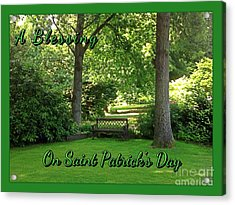 Garden Bench On Saint Patrick's Day Acrylic Print
