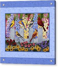 Garden Birds Duvet Cover Blue Acrylic Print by Crista Forest
