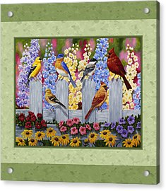 Garden Birds Duvet Cover Green Acrylic Print by Crista Forest